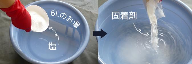 塩と固着剤を混ぜる