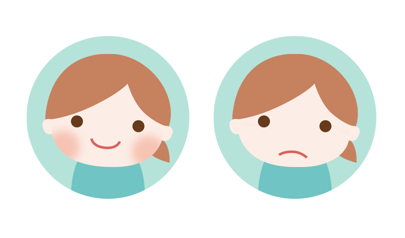 顔色や口角の比較