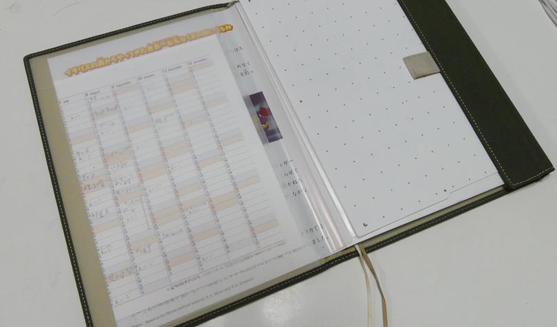 年間カレンダーを挟む