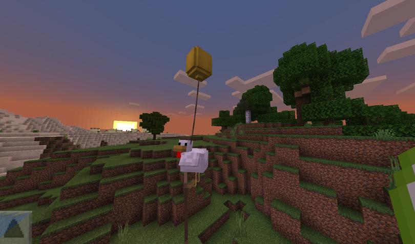 鶏が風船で飛んでるところ