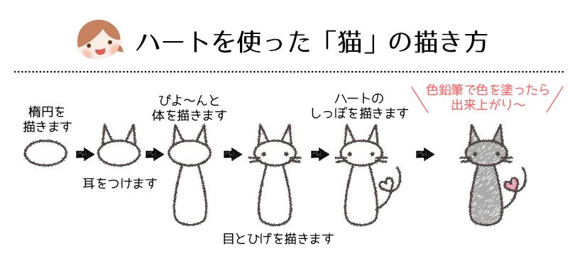 しっぽがハートの猫の描き方